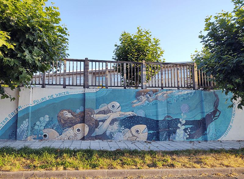 Mural en Ferreira de Pantón, obra de Cestola na Cachola y dedicado a las Xacias.